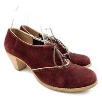 Vtg Womens Red Maroon Oxblood Suede Heeled Oxford Shoes Sz 8.5 B