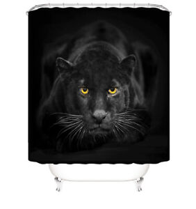 Black Panther Shower Curtain Bathroom Rug Set Bath Mat Non-Slip Toilet Lid Cover