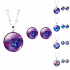 Silver Star Galaxy Nebula Glass Cabochon Pendant Necklace Earrings Jewelry Sets