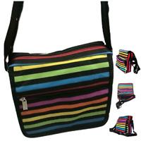 Ladies Colour Striped Shoulder Bag Work Travel Handbag Satchel Multi Zips Bag