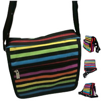 Ladies Coloured Striped Shoulder Bag Work Travel Handbag Satchel Multi Zips