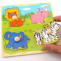 Bébé Enfant Enfant en bois coloré créatif .Educational drôle Puzzle brique R3W1