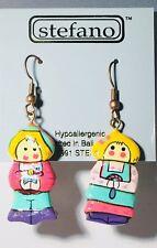 Stefano Bali  Handmade Dangle (drop) Earrings, Cute Dutch Couple, VERY RARE