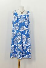 NWOT Dressbarn Sleeveless Pleated Neck Blue White Tropical Floral Dress 16W G193