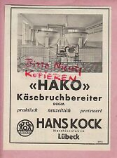 LÜBECK, Werbung 1950, Hans Kock Maschinenfabrik HAKO Käsebruchbereiter
