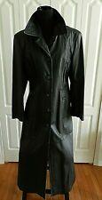 Women's Genuine Leather Winlit Long Full Length Black Coat, Large