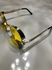 Steampunk Gothic Retro Round Circle Sunglasses Metal Gold Metal Yellow Lens C1