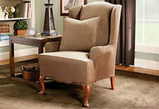 Sure Fit Stretch Stripe Wing Chair in Brown