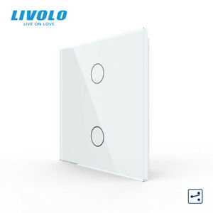 LIVOLO UK Standard 86mm Crystal Glass 2 Gang 2 Way Wall Touch Lighting Switch