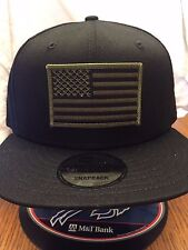 New Era NE400 Black Snapback Flat Bill Hat/Cap W/ Green Black American Flag