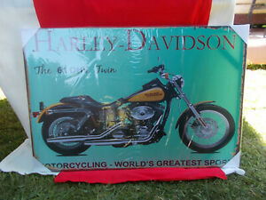 HARLEY DAVIDSON MOTORCYCLE POSTER / PICTURE ON WOODEN FRAME 91 X 61 X 2 cm NEW