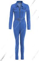 NEW Womens Denim Boiler Suit Ladies Jumpsuit Blue Size 8 10 12 14 Boilersuit