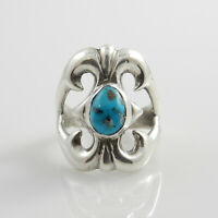 Unique Navajo Handmade Sterling Silver Men's Turquoise Ring Size 10