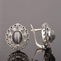 Ohrringe aus Silber 925 mit Uleksyt Oval gestempelt