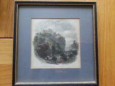 ANTIQUE PRINT C1830 EDINBURGH CASTLE WITH NEW CHAPEL TOWER COLOUR ENGRAVING ART