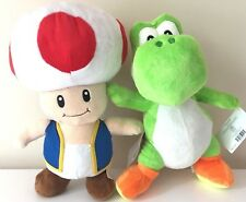 "Set of 2 JUMBO TOAD & YOSHI Super Mario Plush Official 14.5""  Toy.NWT. USA"