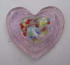 v light pink HEART FIGURINE small glass love