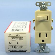 P&S Ivory Combo Decorator Toggle Light Switch 5-15R 15A Outlet Receptacle 681-I