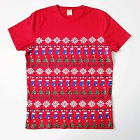 Hollister Mens Red Christmas Happy Holla Days T Shirt Size L