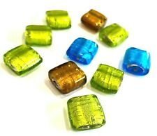 Glass Lampwork Square Flat Beads Mix Silver Foil (BX11S) UK Seller Free Postage