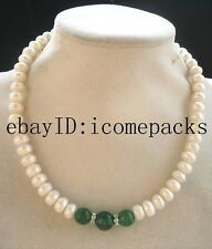 "freshwater pearl roundel green jade necklace 17"" nature"