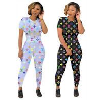 New Fashion Women's O Neck Short Sleeves Printed Casual Long Pants Set 2pcs Club