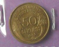 50 centimes morlon 1939 B : TTB : pièce de monnaie française N155