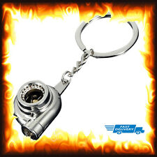 Chrome Turbo Charger Keyring Boost Spinning Fan Metal Anodized Key Chain Gift