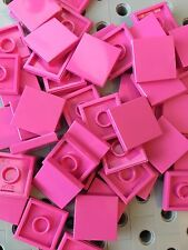 Lego 2x2 Hot Pink Tiles Smooth Finishing MODULAR BUILDINGS Bricks Floor 50 Pcs