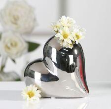 36693 Vase Lovely Breite 13 cm aus Keramik silber glasiert Herz Form Höhe 11,5cm