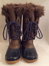 NEW M&S KiDS Shoes, Girls Long Lace Up Boots, Size 2, Rubber And Faux Fur
