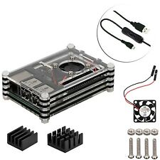 Raspberry Pi 3 & 2 B + desktop starter kit (Caso, ventilador, cable, disipado)