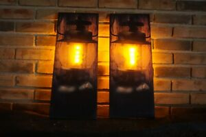 SET OF 2 Flicker Flame Camping Lantern Light Cabin Lodge Home Decor Signs