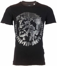 DIESEL Mens T-Shirt MIREY Mohawk BLACK SILVER Casual Designer $98 Jeans NWT
