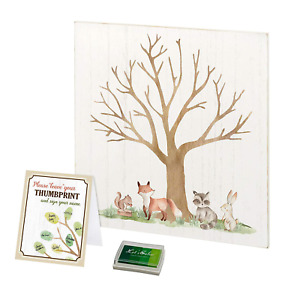 Lillian Rose Woodland Baby Shower Guest Book Alternative with Ink Pad