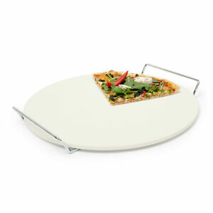 Pizza Stone 33 cm With Metal Handles Baking Stone Bread Bakeware Pizza Grill