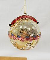 God Bless America Globe Flag Ornament Christmas Holiday Wallace Silversmiths
