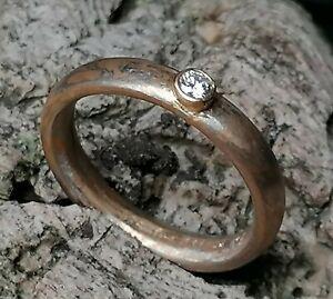 Unikat Ring Mokume Gane Brillant 0,07 ct Gold 900 Platin 950 Silber 925  57