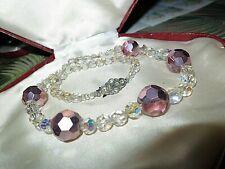 Lovely vintage clear rose gold aurora borealis glass necklace and bracelet set