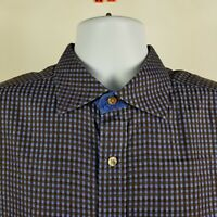 Robert Graham Mens Blue Brown Check L/S Dress Button Shirt Sz XL
