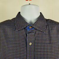 Robert Graham Mens Blue Brown Check L/S Dress Button Shirt Sz XL