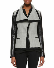 Vince Boucle Scuba Leather Sleeves Woven Jacket Grey/Black Size 4 Small $695 NWT