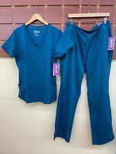 New Healing Hands Caribbean Blue Scrubs Set With Xl Top & Xl Tall Pants Nwt