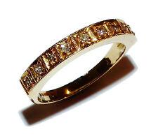 Fully Hallmarked 18ct Yellow Gold & Diamond ½  Eternity Ring (UK Size: M)