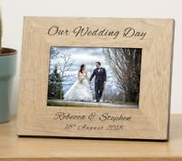 Personalised Oak Finish Wooden OUR WEDDING DAY Picture Photo Frame Anniversary