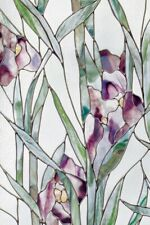 New 24x36 Purple Iris Privacy Stained Glass Static Cling Window Film