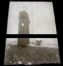 PLAQUE VERRE PHOTO NEGATIF circa.1914 MERE ET FILS mother & son  (B25)