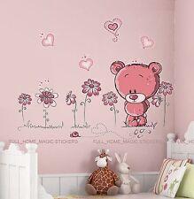 PINK TEDDY BEAR Wall Stickers Art Decal Paper Baby Child Nursery Kids Bedroom