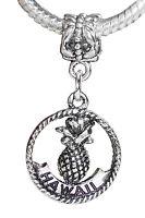 Aloha Hawaii Trip Pineapple Dangle Charm for Silver European Bead Slide Bracelet