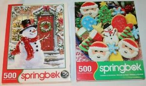 Lot of 2 Springbok Christmas Puzzles Snowman Cookies 500 piece Complete